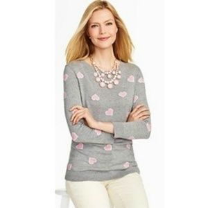 Talbots Heather Gray Sweater with Pink Hearts Sz S